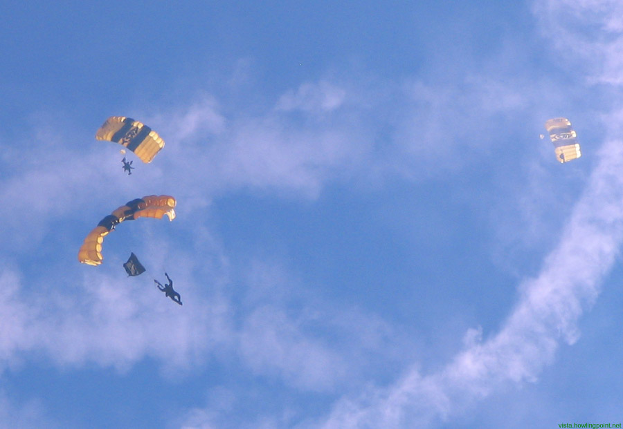 From the sky: Members of the Army's Golden Knights parachute team demonstrating their skills.