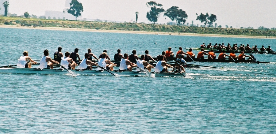 Race is on: Taken at the San Diego Crew Classic on Sunday, April 4, 2004.
