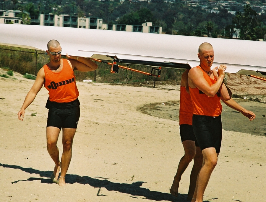 Oregon State (OSU) men moving their boat: Taken at the San Diego Crew Classic on Sunday, April 4, 2004.