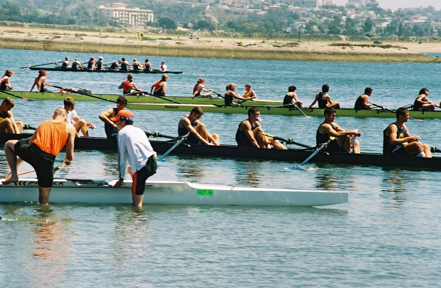 Boats getting organized: Taken at the San Diego Crew Classic on Sunday, April 4, 2004.