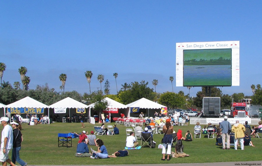 Fan area: Alumni tents and big screen viewing area.