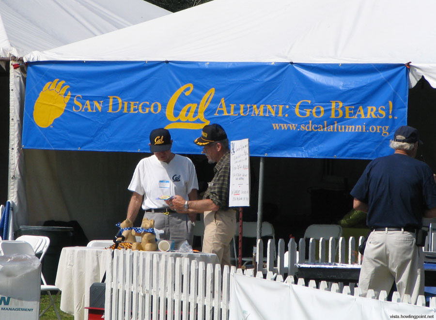 Alumni tent with new banner: The San Diego chapter of the Cal Alumni broke out a new banner at the alumni tent.