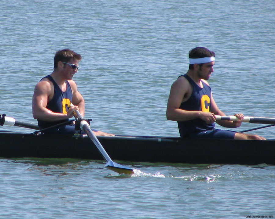 Intense even in victory: Closeup of two members of the Cal Mens Novice B boat shortly after they crossed the finish line. They lost to the Cal A boat, but held on to second against Orange Coast College.