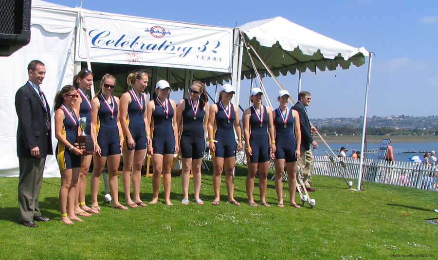 Cal's Novice Women: Cal's Novice Women receiving the SeaWorld San Diego Trophy after winning their final.