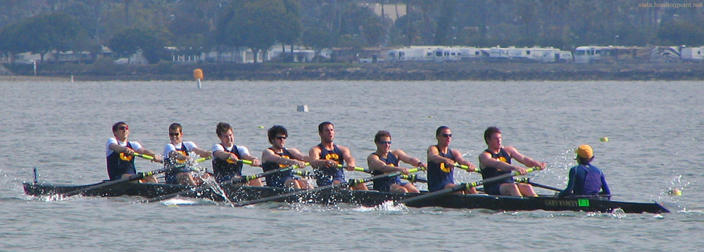 Cal leading: Cal men's A boat leading in a preliminary for the Copley Cup on Day One of the 2006 Crew Classic