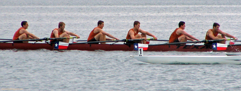 Texans showing their colors: Texas Collegiate Novice men in a preliminary race for the Derek Guelker Memorial Cup on Day 1 of the 2006 Crew Classic.
