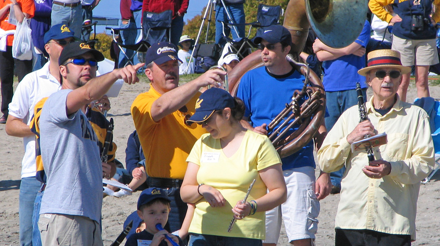 Watching the race: The San Diego Cal Alumni band keeps track of a race.