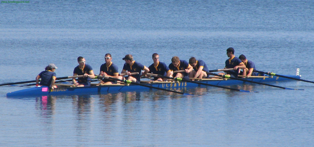 Davis heads out: UC Davis Men's Varsity Boat heading out for the Copley Cup race.