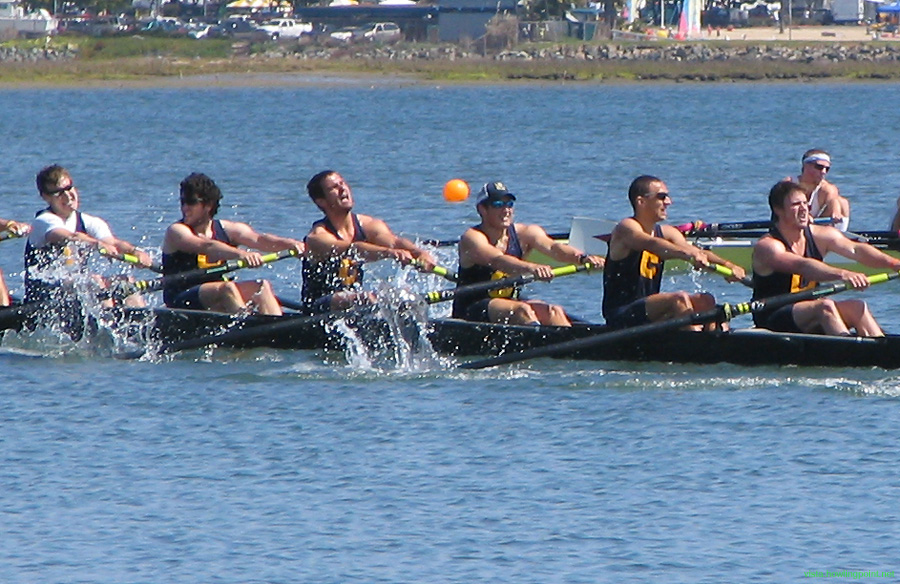 Struggling: Cal Varsity Eight struggling in an upset loss to Stanford for the Copley Cup.
