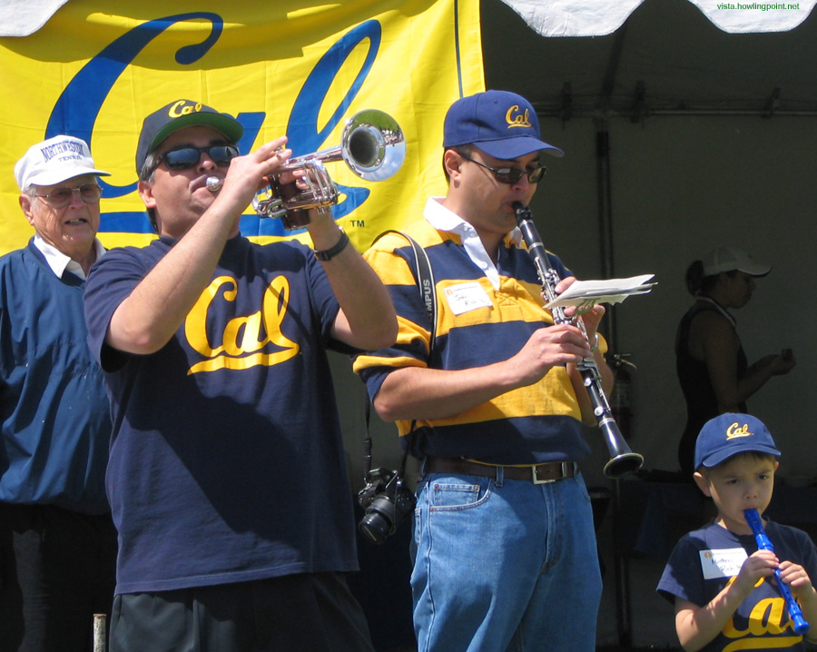 It's not just the rowing: San Diego Cal Alumni band entertaining at the alumni tent. One pre-alum seems to have joined into the fun.