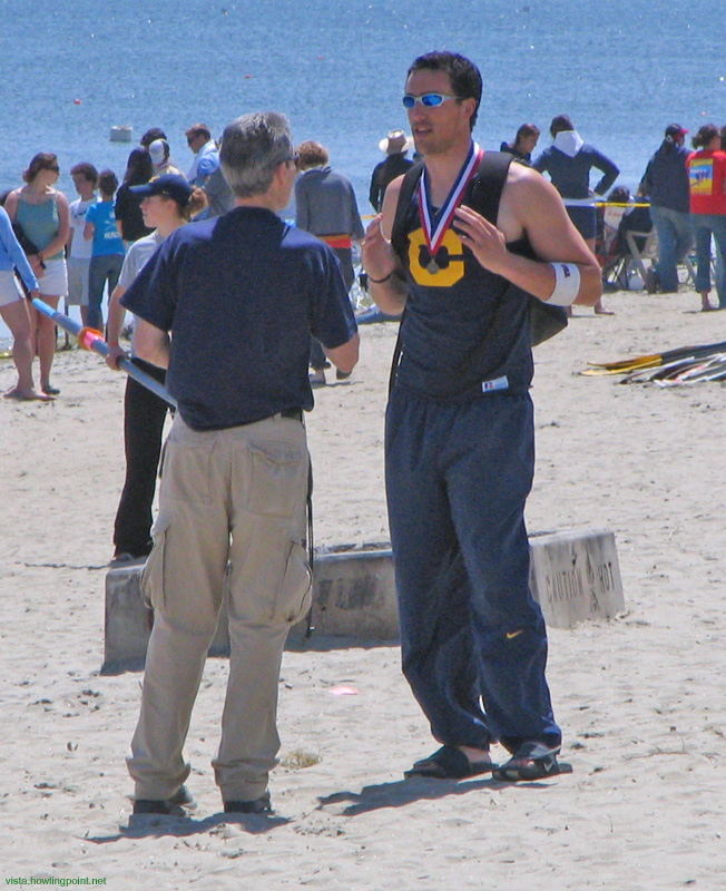 One of the winners: Cal rower talking at the end of the day.