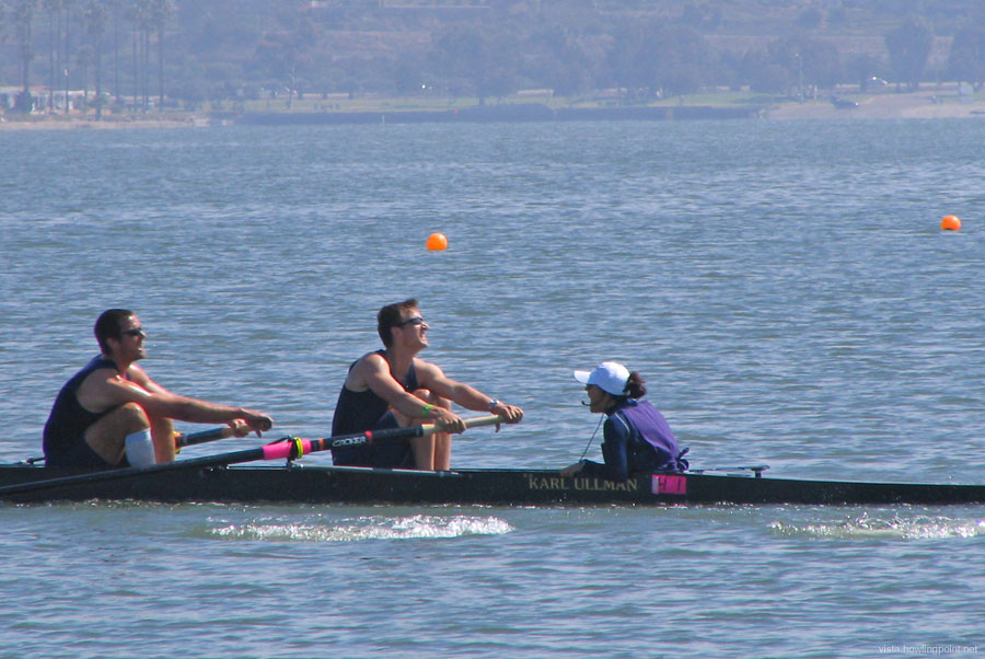 Big Win: Cal's Mens JV boat still pulling hard despite a four-boat lead over their nearest rival for the Sharp Cabrillo Cup.