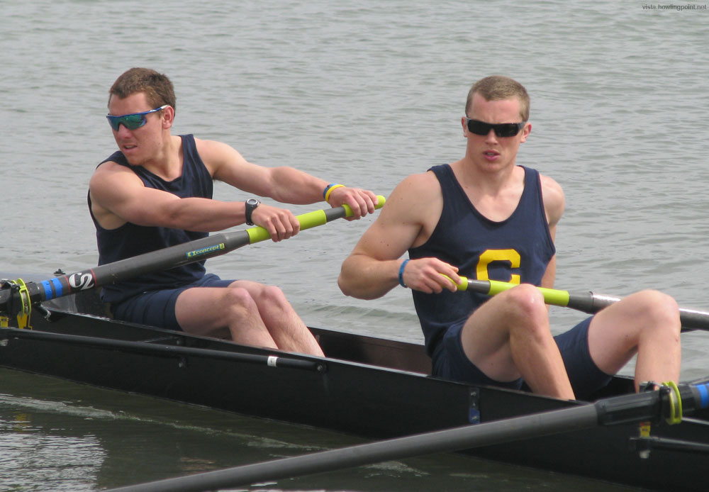 Looking Serious: Intense looks dominate Cal's B Boat in the Mens Open.