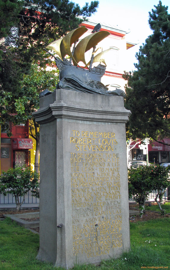 Robert Louis Stevenson Memorial: This memorial to the great author is located in the current Chinatown. From research on Google it's been there since before the quake of 1906.