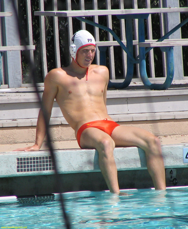 Relaxing: Pomona Pitzer player sitting on the deck at the warm-up pool before their first game on Sunday.