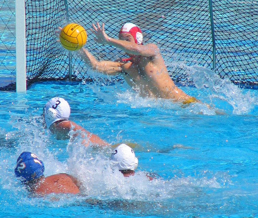 Moving to the side: UC Santa Cruz goalie moving to the side to block a shot.