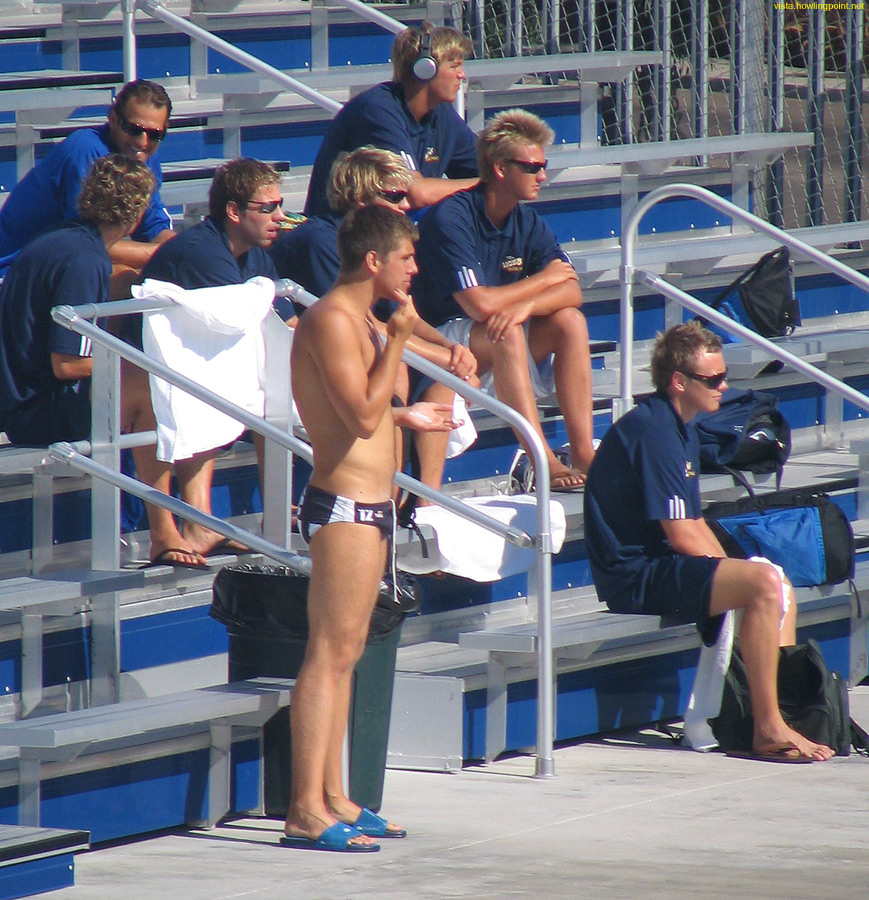 Watching the competition: UCSB Gauchos watch an earlier game from the bleachers.