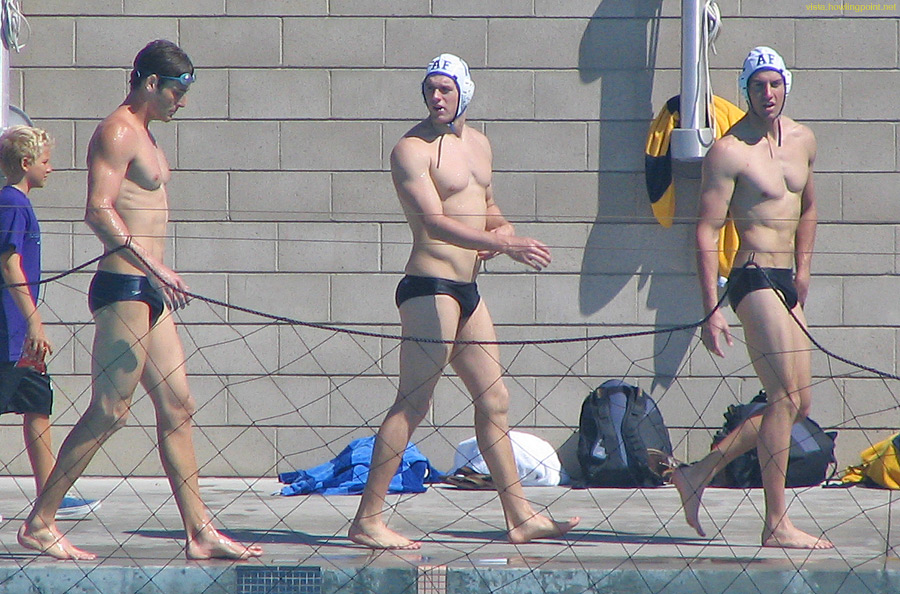Air Force walking: Air Force Academy players walking by the warm-up pool.