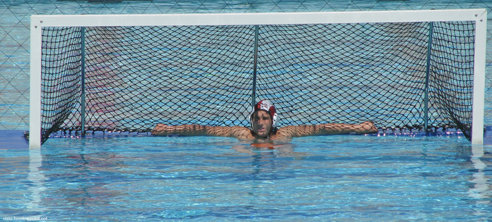 Sagehen goalie resting during a lull.: