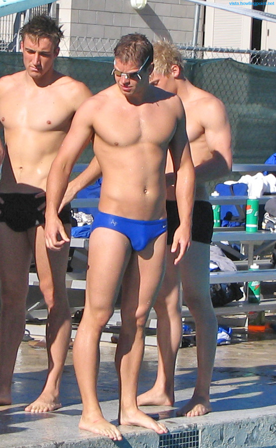 Air Force blue: Air Force Academy swimmer on the deck during this meet between the teams from UCSD and the Academy.