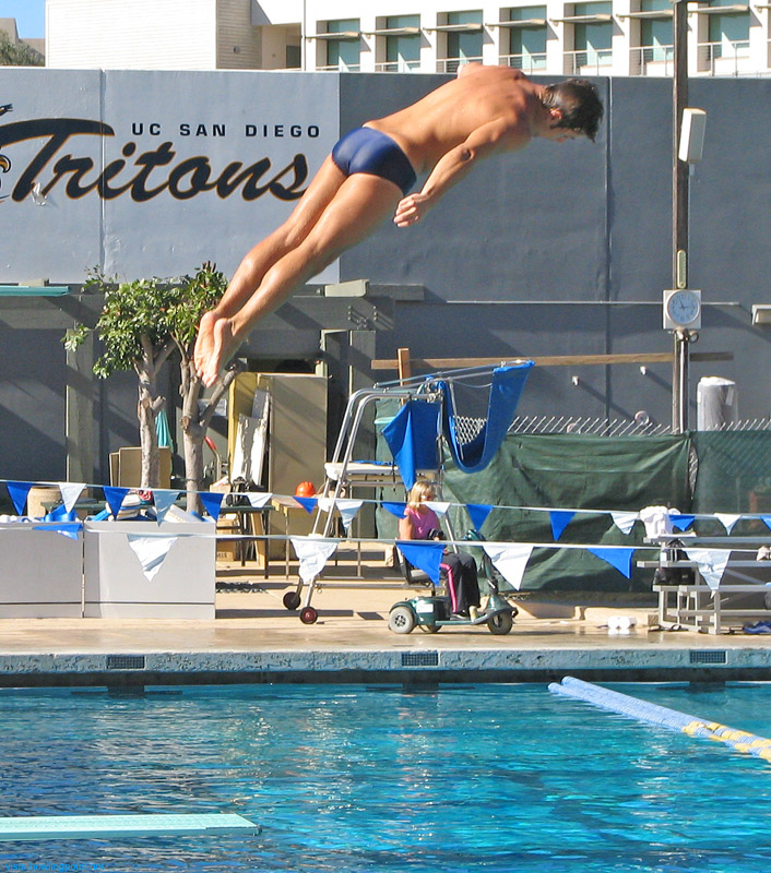 Flying Triton: UCSD diver off the one-meter springboard.