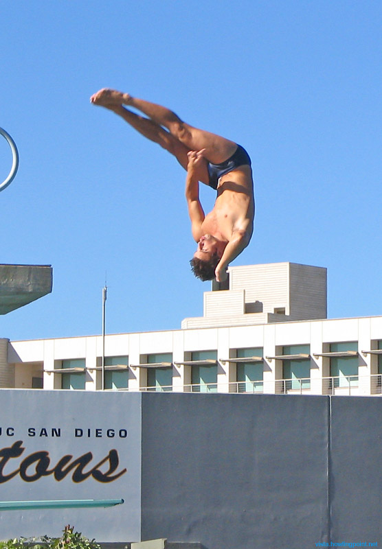 Up high: This diver had left the springboard to the lower left, not the platform in the background.