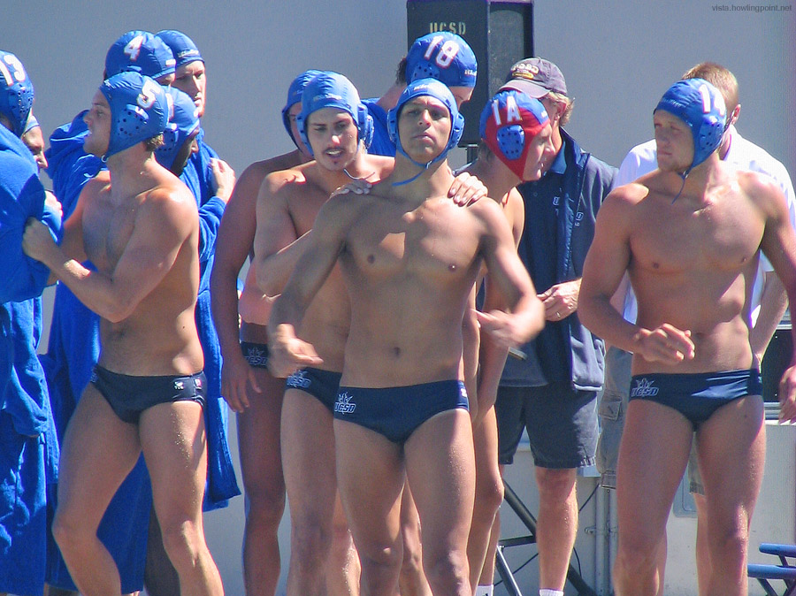 Ready to play: UCSD players heading to the pool from their final pregame huddle.