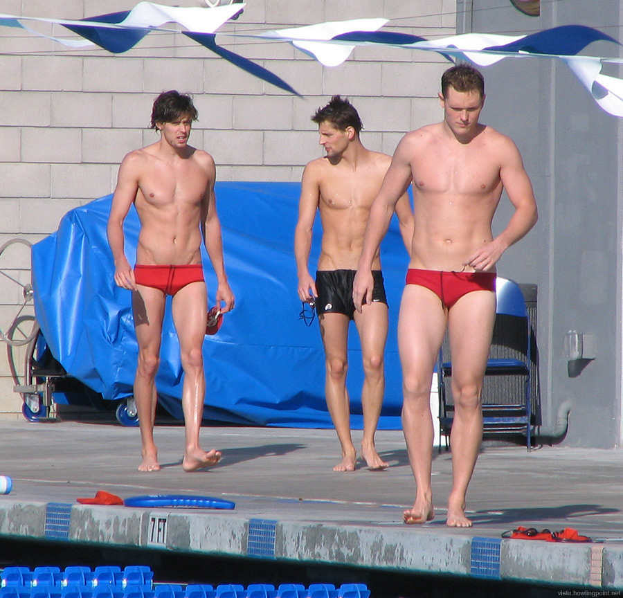 Afternoon stroll: Utah Ute swimmers on the deck before their meet against the UCSD Tritons.