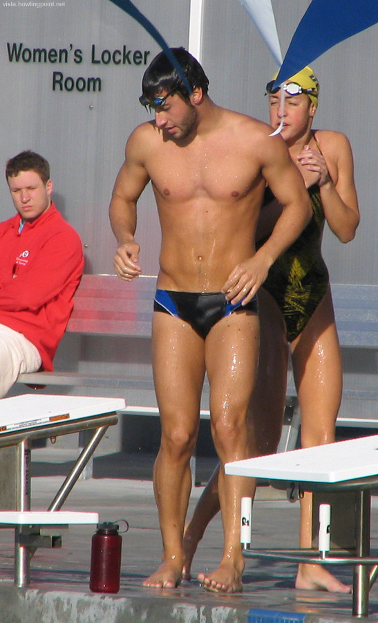 In the cold air: UCSD swimmer on deck after warmups on this chilly (by San Diego standards) winter afternoon.