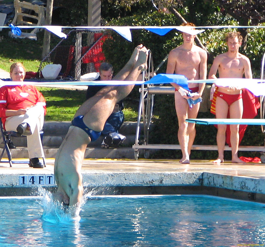 Dive entry: UCSD diver entering the water off the one-meter springboard.