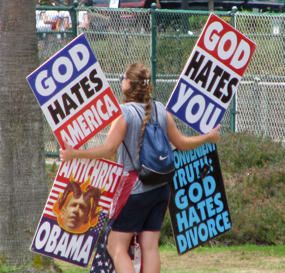 The Backside of Hate: The haters were out to spread their message.  Fortunately the counter-protesters were out too, with more imagination and better organization.