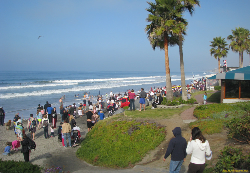 New Year's morning: The crowd at the Del Mar beach at about 10:50 am, about ten minutes before the official New Year's plunge.
