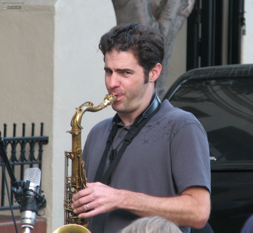 Good Sax: One of the other thirds of the jazz trio performing at the San Luis Obispo farmer's market.
