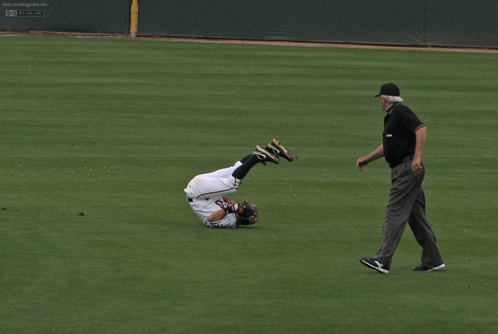 Dramatic Moment: Cavalier shortstop goes for the drama after a diving catch.