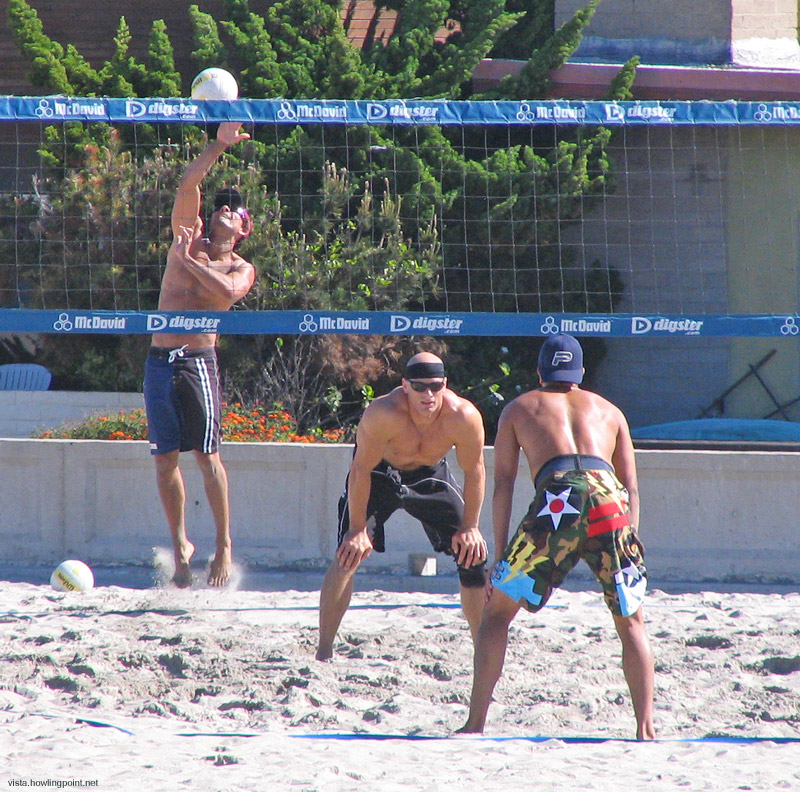 Tuesday a.m., May 23, 2006: A serve in early morning volleyball at Mission Beach.