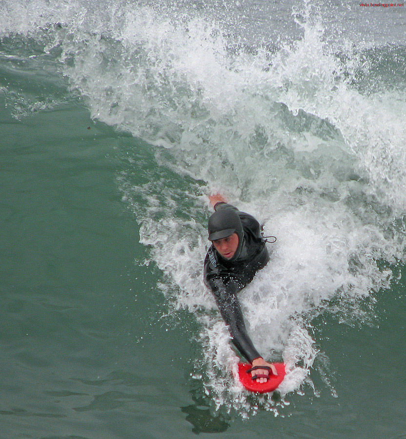 Saturday morning, December 29, 2007: This body surfer was getting a lot of good rides at this Saturday morning session at Pacific Beach.