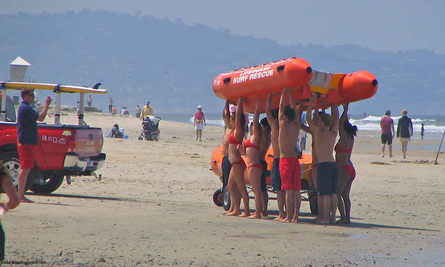 Saturday a.m., May 12, 2007: With only two weeks to go until Memorial Day weekend, Del Mar runs their lifeguards through some training.