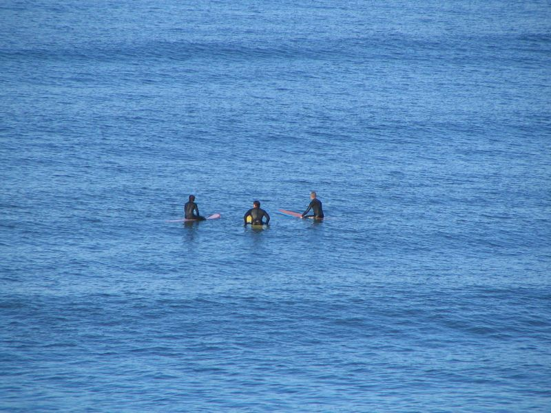 Surfers off Del Mar near 15th Street.: