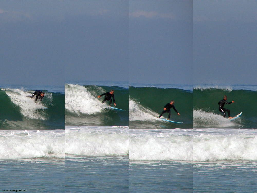 Action Sequence at Coronado: This   series of an unidentified surfer was taken the morning of Sunday, May 8,   2005, at the Coronado City Beach.